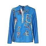 UFACE Damen Printed Pailletten Langarm Top Plus Größe V-Ausschnitt Print Langarm Pailletten Bluse Pullover Tops Shirt(Dunkelblau,EU/50CN/3XL)