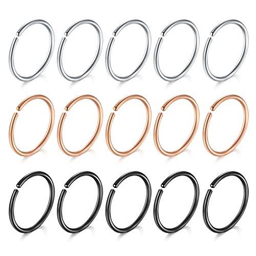 Funseedrr 15er Edelstahl Nasenpiercing Nasenring Set 0,8x6mm Septum Lippenpiercing Ohr Tragus Helix Piercing Ring Schmuck