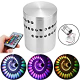 #2: HITSAN 3W RGB LED Wall Lights Remote Control Spiral Ceiling Lamp for Hallway Porch KTV