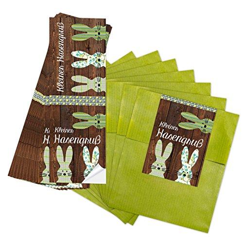 en (13 x 18 cm) und 50 lange OSTER-Aufkleber 7,2 x 21 cm in grün braun