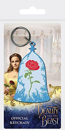 Disney Beauty and The Beast Movie - Enchanted Rose, Schlüsselanhänger aus Gummi, 4.5 x 6 cm