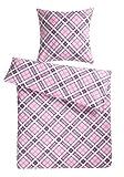 Carpe Sonno kuschelige Biber Bettwäsche 135 x 200 cm rosa kariert Winterbettwäsche mit Reißverschluss aus 100% Baumwolle Flanell - 2-tlg Bettwäsche Set mit Kopfkissen-Bezug