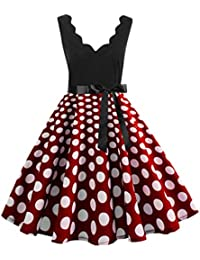 QingJiu Ladies Dress Fashion Floral Print Dress Dress deep V Collar Sleeveless Serrated Collar high Waist line Slim Knot Fashion Evening Style Dress