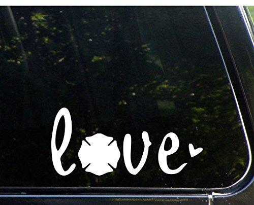 Love mit Firemans Malteser-81/5,1x 10,2cm-VINYL die cut Aufkleber/Bumper Aufkleber für Windows, Lkws, Autos, Laptops, MacBooks, etc..