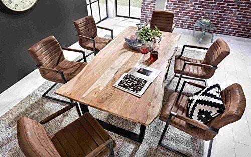 Excl. Baidani Designer Tisch mit Baumkante Gestell schwarz – 200 x 100 cm