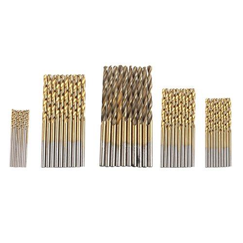 50Holz-Twist-Bohrer Bit-Set 1–3mm Kleine HSS Hohe Stahl Titan beschichtet rund Schaft Werkzeug für Holz Kunststoff Aluminium Kupfer Stahl (Kleine Bohrer-bit-set)