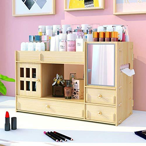 LBXMLX Kosmetische Aufbewahrungsbox Kosmetikregal Schlafsaal Artefakt Hautpflege Lagerregal Persönlichkeit Einfach @ H01 Kirschholz (mit Spiegel) -