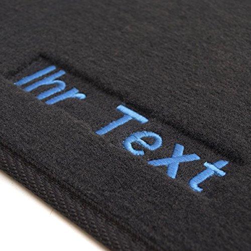 Fußmatten 1K / 5K Velour, Bestickt Text, Fahrer + Beifahrermatte, Blau