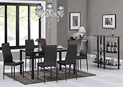 Designer Style Black Glass Dining Table Set With 6 Faux Leather Chairs - cheap UK light shop.