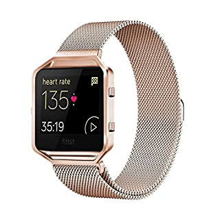 Akale For Fitbit Blaze Band, stainless Steel Replacement Accessories Metal Bands with Frame, For Fitbit Blaze Women Men Small & Large Band,Rose gold