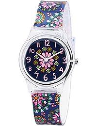 Zeiger Kinderuhr Blumen Quarz Mädchen Uhr Armband Mädchenuhr Lernuhr Silikon KW013