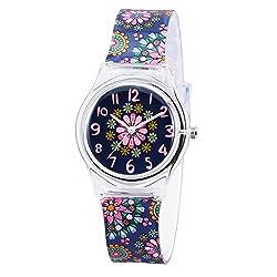 Zeiger Mädchen Lern Uhr Analog Quarzwerk mit Silikon Armband Schwarz Blumen KW013
