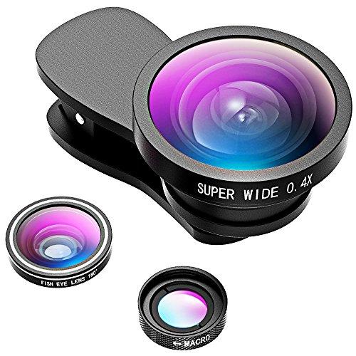 Galleria fotografica VicTsing Lenti Smartphone 3-in-1 Kit Clip-on [2017 Regalo Migliore] Fisheye 180° + Grandangolo 0.4X + Macro 10X, Obiettivi Cellulari per iPhone 7/6S/5S, Galaxy, Huawei, LG, Sony, Lumia, Xiaomi ecc