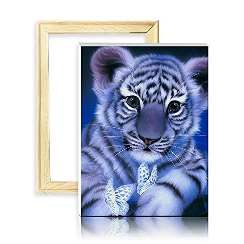 Ufengke Kit Pintura Diamantes 5D Tigre Blanco