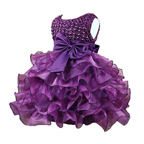 WanYang Bambini Ragazze Vestiti Da Collo Rotondi Senza Maniche Vestiti Principessa Vestito Da Cerimonia Nuziale Damigella D'onore Viola
