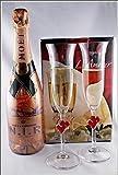 Champagner Moet und Chandon N.I.R. Dry Rosé (12 %VOL. - 0,75 Liter) mit 2 Stölzle Champagner Gläser L´Amour im Geschenk Karton, kostenloser Versand