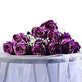 Veryhome 10pcs künstliche Seidenrosen, gefälschte Rose Blumen für Hochzeit, Party, Geburtstag, Gartendekor (lila)