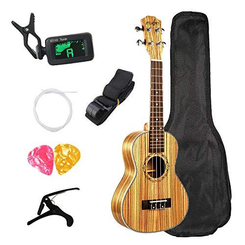 TOOGOO Concierto Ukelele 23 Pulgadas Hawaiana Zebrawood Principiante Uke 4 Cuerdas Guitarra Acustica Guitarra Ukulele con Bolsa Enviar Regalos Instrumento Musical de Cuerda