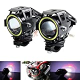 #6: AllExtreme U7 LED Fog Light Bike Driving DRL Fog Light Spotlight, High/Low Beam, Flashing-With White Angel Eyes Light Ring (Pack of 2) U 7 Led Fog Light White Angel Eye