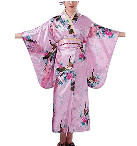 Botanmu Frauen Kimono Robe Japanische Kleid Fotografie Cosplay Kostüm 5 Farben (Rosa) (Japanische Kostüme)