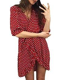 Vestito da Donna Estate Vestito Primavera Primavera Donna Mezzo Mode di  Marca Senza Maniche Stampa Floreale Punto Moda Onda Vestito Casual… 3e85f0170f2