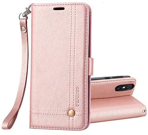 Ferilinso Funda Xiaomi Mi MAX 3, Carcasa Cuero Retro Elegante con ID Tarjeta de Crédito Tragamonedas Soporte de Flip Cover Estuche de Cierre magnético para Xiaomi Mi MAX 3(Oro Rosa)