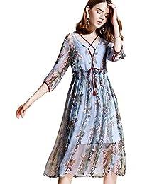 Brilliant firm Las Faldas de Las Mujeres del Vestido de Seda de Seda Imprimen el Temperamento