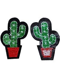 Udane Diez Piezas DIY Ropa Prendas de Vestir Accesorios Cactus Planta Parche para Ropa (Verde