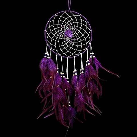 SZTARA Creative Purple Rose Dream Catcher Feather Crafts Home Wall Car Hanging Decor Unique Dreamcatcher Nets Length 17.7