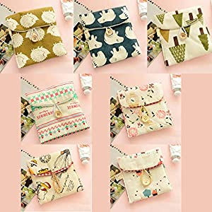 Girl Cotton Diaper Sanitary Napkin Package Bag Women Tampons Storage Organizer Card Holder Coin Bags