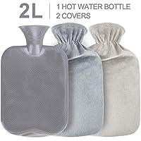 Bolsa de Agua Caliente, Gifort Botellas de Agua Caliente con Suave Felpa Funda 2L Hot Water Bottle, No hay fugas, Para Mantener el Agua Calient, Perfecto para Noches Frías de Invierno