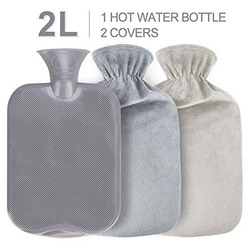 Gifort Waermflasche mit 2 bezug, Wärmeflasche mit Super Weichem Plüsch-Bezug Waschbare Wärmekissen, Sicher und Warm Hot Water Bottle Länger für Abende, Schnelle Schmerzlinderung und Komfort(2L)