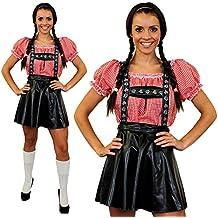 Déguisement de luxe pour femme avec cet ensemble jupe salopette Bavaroise + une chemise rouge et blanche à carreaux. Idéal pour les fêtes de la bières Oktoberfest.