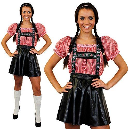 Déguisement de luxe pour femme avec cet ensemble jupe salopette Bavaroise + une chemise rouge et blanche à carreaux. Idéal pour les fêtes de la bières Oktoberfest. ( Large )