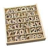 maDDma  1 Holz Box Buchstaben + Zahlen 4cm, MDF, 288 Teile - Kiste Setzkasten Alphabet
