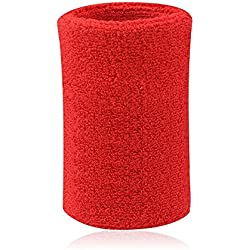 Kry - Muñequera / sudadera absorbente de algodón para deportistas de baloncesto, bádminton y tenis , rojo