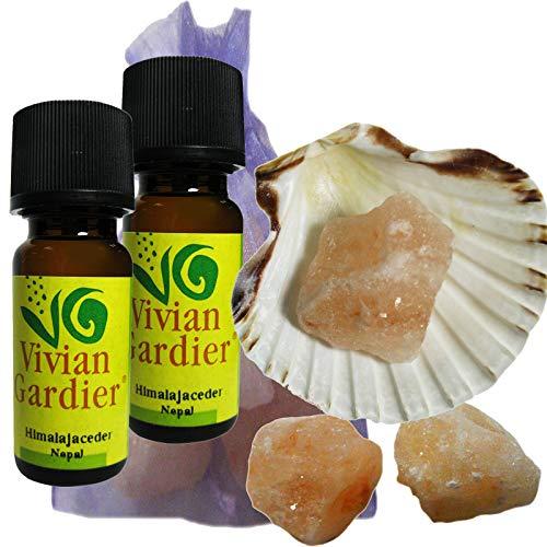 Zedernholz Himalaya Zeder Öl ätherisch + NATURREIN 2 x 10ml von VIVIAN GARDIER, kontrollierter Anbau #50012 | 7-teilig. Aromatherapie Duft-Set mit Muschel, 3 x Sole-Kristalle, Duftsäckchen. -