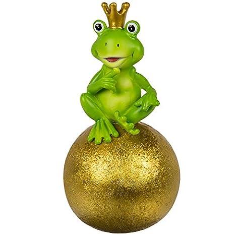 Sitting Fun Frog on Gold Ball Ornament