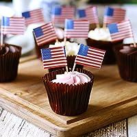 American Stars & Stripes Flag Picks - Set of 24 - Mini USA Flag Cocktail Stick, Cake Topper