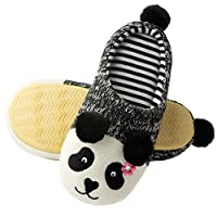Tofern Women Soft Plush Cute Animal Warm Winter Non Slip Sole House Slipper comfortable Indoor Home Shoes, Panda Mother