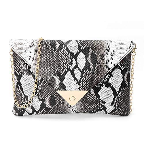 Bogji - Frauen Umschlag Clutch Handtasche Schlangenleder Muster Kette Schulter Crossbody Tasche(Snake skin) - Schwarze Schlangenleder Clutch