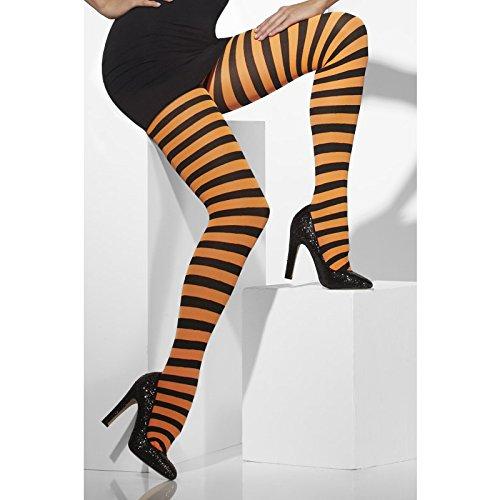 Preisvergleich Produktbild Smiffys, Fever, Damen Blickdichte Strumpfhose, Gestreift, One Size, Schwarz-Orange, 42761