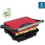 Aigostar Habba 30HHI – Parrilla, grill, sandwichera y máquina de panini, 1000 W de potencia, asa de toque frío, placas antiadherentes. Libre de BPA, color rojo y negro. Diseño exclusivo.