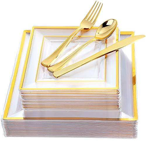 IOOOOO 120 Stück Rose Gold Square Kunststoffplatten mit Besteck Einweg Gedeck umfassen: 24 Dinner Plates 9,5 Zoll, 24 Dessertteller 7 Zoll, 24 Gabeln Abendessen/Salatteller & Gabeln & Messer -
