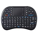 2,4Ghz Wireless Mini Tastatur mit Touchpad Maus Tragbare Kabellos Handheld Multimedia Tastatur mit 92 Taste QWERTZ Tastaturlayout inkl. wiederaufladbarer Li-ion Batterie für PC Google Android Smart TV Vivo Box Media Mini TV Stick HTPC IPTV Laptop Raspberry PI PS3 - Schwarz