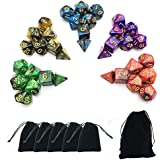 SmartDealsPro 5 x 7-Die Series Two Colors Dungeons and Dragons DND RPG MTG Table Games Dice with FREE Pouches by Smartdealspro