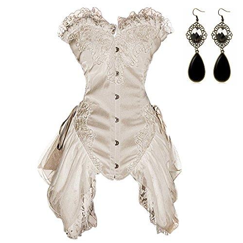 Sitengle Damen Korsett Corsage Kleid Vollbrust Korsagen Taillenformer Shapewear Mini Rock Petticoat Vintage Palace Korsett Cincher Unterbrust Korsagekleid Mini Rock (2XL, (Korsett Ausgehen)