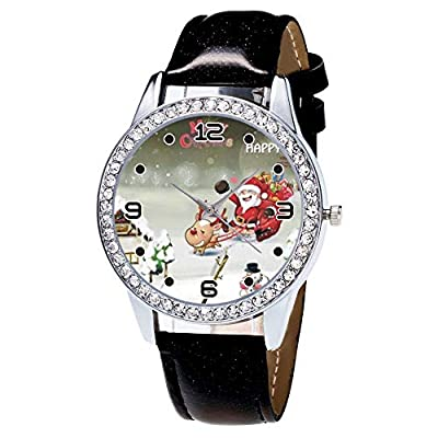 Women Watches Sale Clearance -Singular-Point Lady Watch Christmas Diamond Leather Band Analog Quartz Vogue Wrist Watches Gift : everything five pounds (or less!)