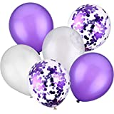 Jovitec 30 Pièces 12 Pouces Ballons en Latex Ballons de Confettis pour la Décoration de Fête d'anniversaire de Mariage (Blanc et Violet)