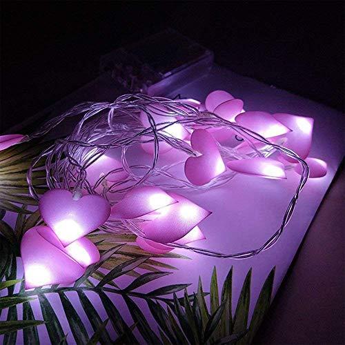 TJW LED-Lichterkette in Herzform, 24 cm, 20 LED-Lichterkette, batteriebetrieben, für Schlafzimmer, Hochzeit, Geburtstag, Weihnachten, Party-Dekoration, Stoff, violett, 5 m, 50 LEDs